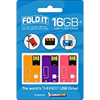 CustomUSB FoldIT USB Flash Drive 3-Pack, 16GB Yellow/Purple/Pink