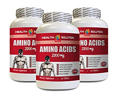 Muscle Building Pills for Men - Amino Acids 2200 Mg - Muscle Maker - l-Lysine Tablets - 3 Bottles 450 Tablets