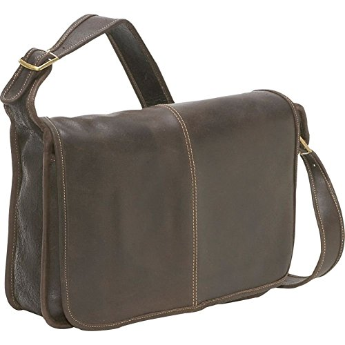 LeDonne Distressed Leather Classic Flap Over Messenger Bag, (Classic Flap Leather)