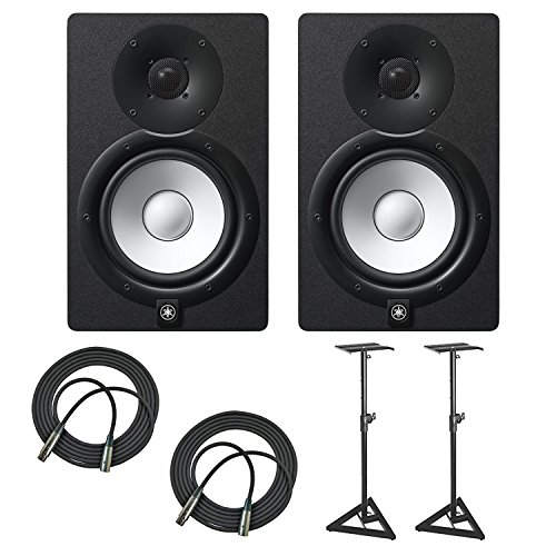 Yamaha HS7 100-Watt Series Monitor (Black, 2-Pack) Bundle with 1-Pair of Adjustable Stands and Two 25' XLR Cables