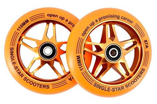 SINGLE-STAR Star Core Scooter Replacement Wheel 110mm Pro Stunt Scooter Wheels Packed 2PCS (Orange/Gold) ()