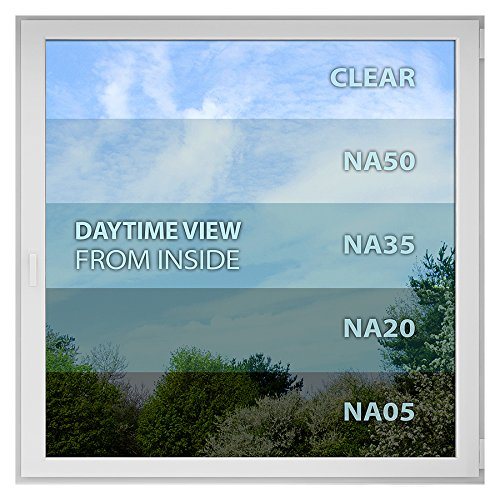BDF NA05 Window Film Privacy and Sun Control N05, Black (Very Dark) - 12in X 14ft