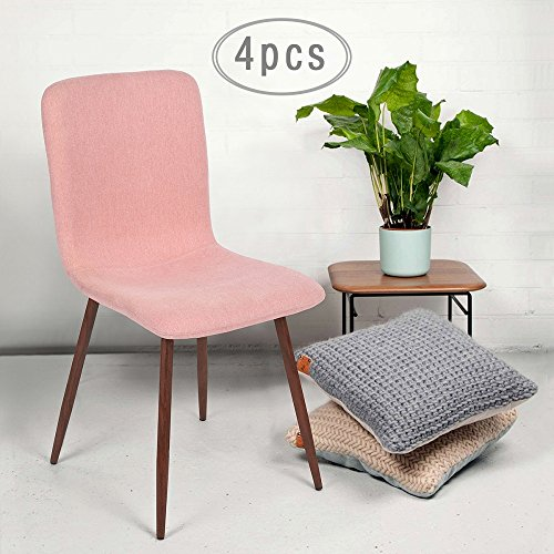 Set of 4 Eames Style Chair Fabric Side Dining Chair with Solid Metal ...