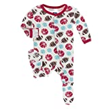 Kickee Pants Little Boys Print Footie With Snaps - Natural Sports, 3-6 Months