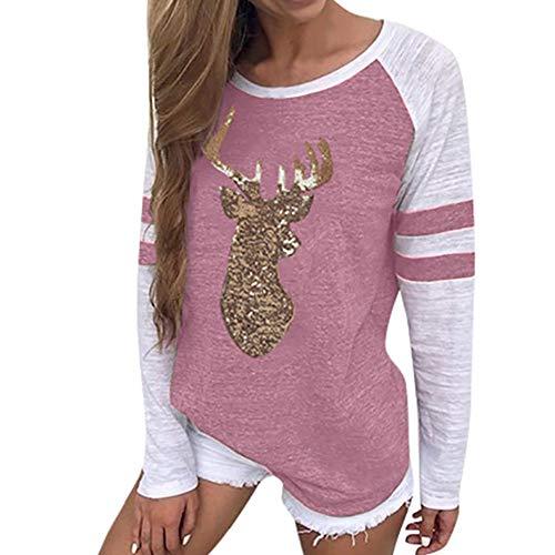 Goosuny Damen Pullover Mit Pailletten Weihnachten Sweatshirt