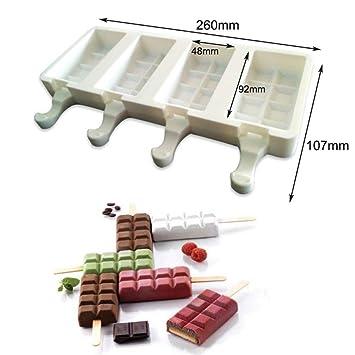 Lolly Moldes de silicona de 4 celdas para helado helado para hacer paletas de zumo y