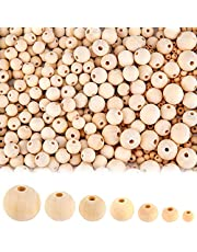 AIEX 1000Pcs Wooden Beads, Natural Wood Beads for DIY Crafts, Wooden Loose Beads for Handmade Jewelry Bracelet Necklace, 7 Sizes(6mm, 8mm, 10mm, 12mm,14mm, 16mm, 20mm)