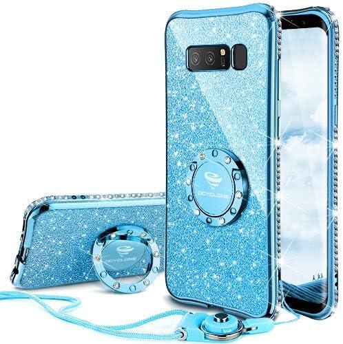 Galaxy Note 8 Case, Glitter Luxury Cute Phone Case Girls with Kickstand, Bling Diamond Rhinestone Bumper Ring Stand Sparkly Luxury Thin Soft