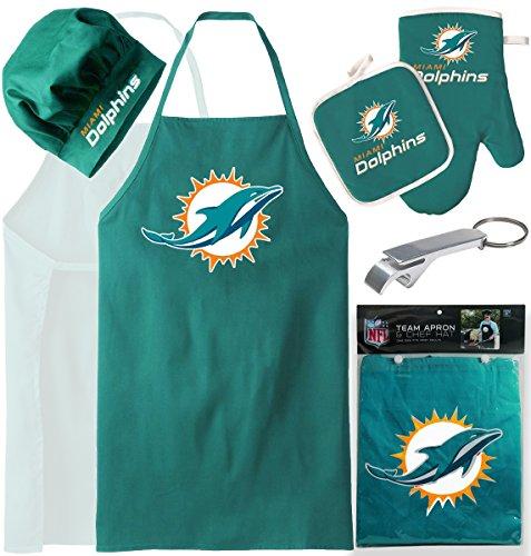 Miami Dolphins (Apron & Oven Mitt Pot Holder) Bonus Bottle Beer Opener, Barbeque Apron and Chef's Hat , NFL - Beer Hat Nfl