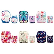 ALVABABY 6pcs Pack Pocket Adjustable Reusable Cloth Diaper with 2 Inserts Each (Neutral) 6DM10