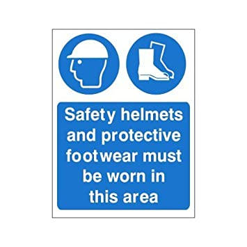Cascos de seguridad y protección calzado debe llevarse en esta zona Sign 450 mm x 600