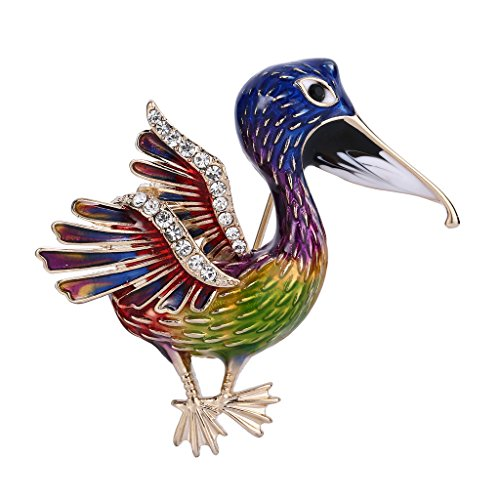 Adorable Vintage Enamel - EVER FAITH Austrian Crystal Multicolor Enamel Adorable Toucan Animal Brooch Pin Clear Gold-Tone
