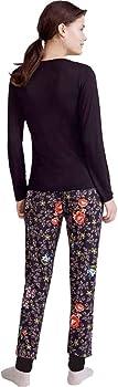 PROMISE Pijama de Mujer Fino N06022 - Negro, M