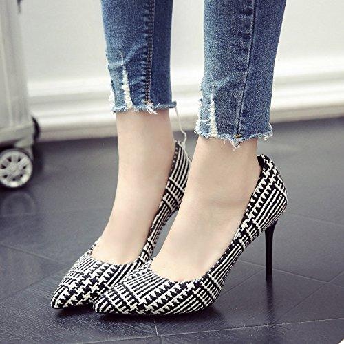 Zapatos Zapatos Solo Banda Tacón Negro Con Verano De De Chica Alto Los Primavera GAOLIM Punta Fina 5q1aBxnS1
