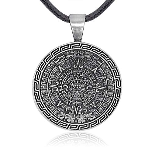 Namaste Jewelers Maya Inspired Mayan Calendar Pendant Necklace Pewter Jewelry ()