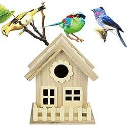 Gold Happy Creative Wall-Mounted Wooden Outdoor Nest Bird House Bird Cage Nest Pet Supplies
