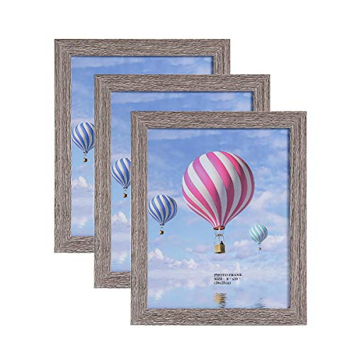 - Metrekey 8x10 Picture Frame (3 Pack, Gray Oak Wood Finish), Photo Frame 8x10,for Table Top Display and Wall mounting Photo Frame