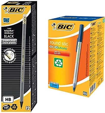 Bic - Pack 12 unidades lápiz Evolution HB + Paquete 60 bolígrafos ...
