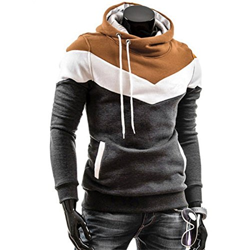 LOKOUO New Hooded Sweater Tops, Men Retro Long Sleeve Hoodie Jacket Jumper Coat Outwear (L, Blue) Dark GreyMedium - Melton Coat Of Arms
