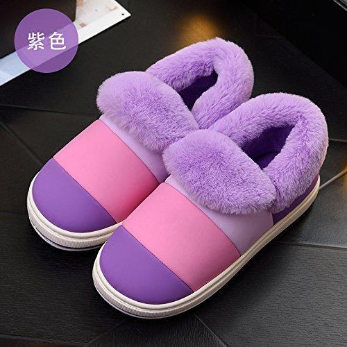Cotone habuji pantofole donna invernale spessa carino indoor e outdoor sacchetto impermeabile con caldo caldo cotone stivali uomini, 34-35, viola