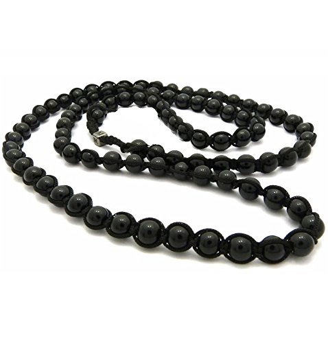 Black Round Balls Marble 6mm Glass Beads Men Hip Hop Long Necklace - Ross Glasses Rick