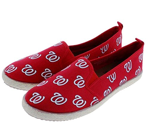 (FOCO MLB Washington Nationals Women's Espadrille Canvas Shoes, Medium, Team Color)