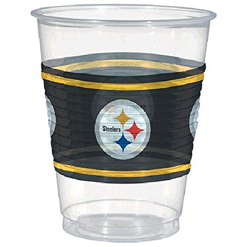 Amscan Pittsburgh Steelers Plastic Cup, 16 oz, Pack of 25 - Nfl Football Plastic Cup
