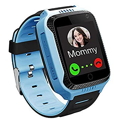 Kids Waterproof Smart Watch Phone, LBS/GPS Tracker Smartwatch Compatible iOS Android for Children 3-12 Girls Boys SOS Camera Two Way Call Touch Screen Christmas Birthday