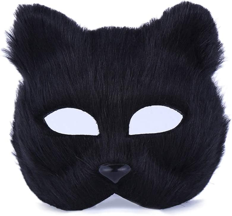 Wenwan Máscara de Disfraces de Halloween Cara de Gato Media mascarilla (Negro)