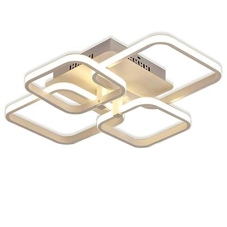 regulable LED Lámpara de techo Lámpara de sala de estar moderna Dormitorio minimalista de metal diseño de 4 cuadrados Iluminación de techo Mesa de ...