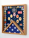 Boy Scout Flag and Awards Display Case (Laser Engraved Boy Scout Emblem)