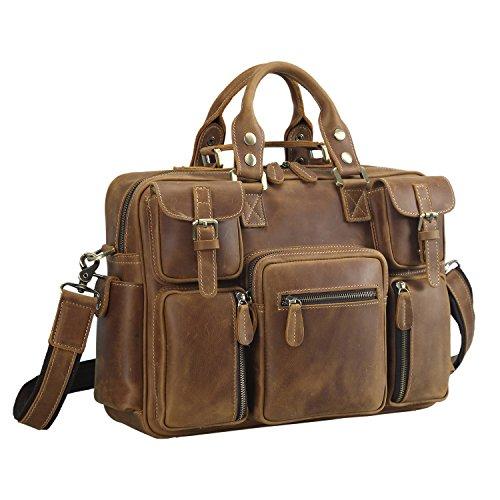 Polare Men's Vintage Full Grain Leather Messenger Bag Business Case Computer Briefcase by Polare