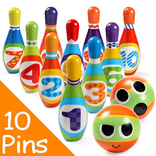 Bowling Ball Game (Toyssa Bowling Set Indoor Foam Bowling Game Early Educational Toys for Toddler Kids with 10 Pins 2 Balls and 1 Eye)