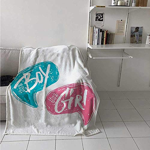 maisi Gender Reveal Super Soft Lightweight Blanket Hand Drawn Style Sketch Boy and Girl Letters Toddler Baby Shower Art Oversized Travel Throw Cover Blanket 70x50 Inch Teal Pink White