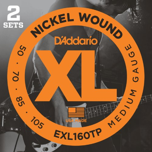 D'Addario EXL160TP Medium Gauge Nickel Wound Bass Strings XL 50-105 Long-Scale, 2 Sets from D'Addario