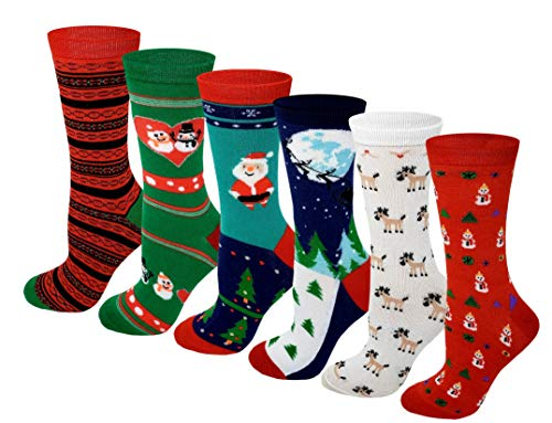 Sumona 6 Pairs Women Colorful Fancy Design Soft & Stretchy Novelty Crew Socks (Merry Christmas) (Christmaas Merry)