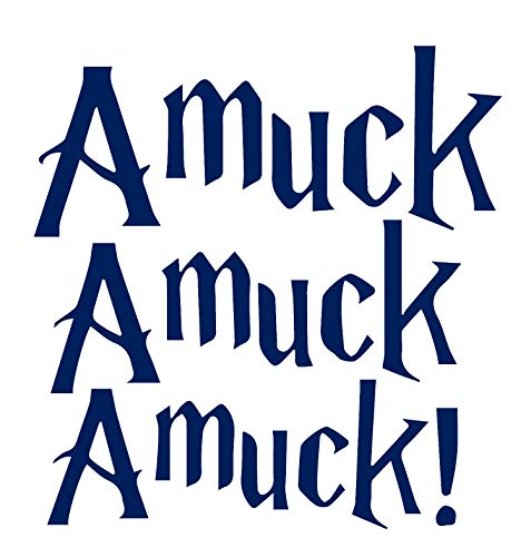 Halloween Amuck! (Navy Blue) (Set of 2) Premium Waterproof Vinyl Decal Stickers for Laptop MacBook Phone Tablet Helmet Car Window Bumper Mug Tuber Cup Door Wall -