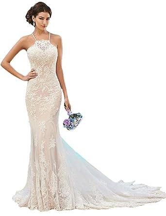35e562f1f6ae0 Fenghuavip Elegant Halter Ivory Lace Long Train Bridal Beach Wedding ...