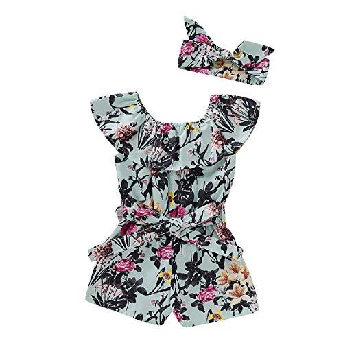 - Newborn Baby Girls Flower Romper Off Shoulder Bodysuit Jumpsuit Sunsuit Outfits Set Clothes (Flower Bodysuit, 18-24 Months)