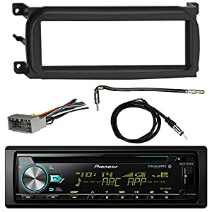 Pioneer DEH-S6000BS Bluetooth CD Car Stereo Audio Receiver - Bundle Combo W/Enrock Dash Kit For 1998-Up Chrysler/Dodge/Jeep Vehicles + Antenna Adapter Cable + Radio Wiring Harness + Enrock Antenna