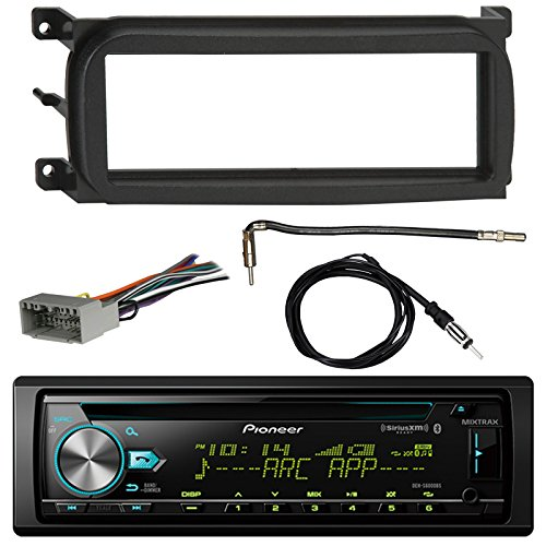 Pioneer DEH-S6000BS Bluetooth CD Car Stereo Audio Receiver - Bundle Combo W/ Enrock Dash Kit For 1998-Up Chrysler/Dodge/Jeep Vehicles + Antenna Adapter Cable + Radio Wiring Harness + Enrock Antenna