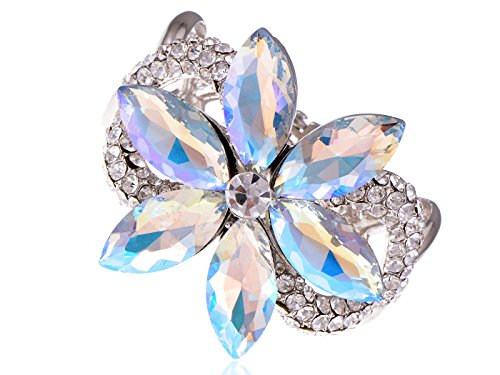 Alilang Floral Twist Big Aurora Borealis Crystal Rhinestone Flower Statement Bangle Cuff Bracelet