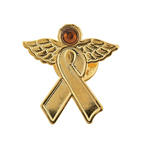 Gold Awareness Ribbon Angel Pins -