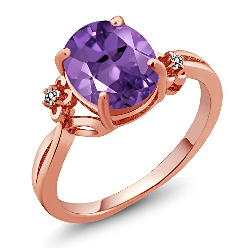 14k Gold Oval Design (2.23 Ct Oval Purple Amethyst White Diamond 14K Rose Gold Ring (Ring Size 7))