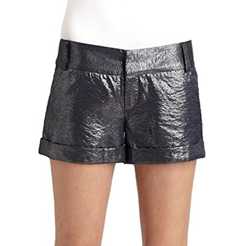 Top Alice + Olivia Cady Cuff Metallic Navy Silver Shorts Womens 2 for sale