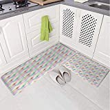 2 Piece Non-Slip Kitchen Mat Rug Set Doormat 3D Print,Forms with Star Elements Radiant Unusual,Bedroom Living Room Coffee Table Household Skin Care Carpet Window Mat,