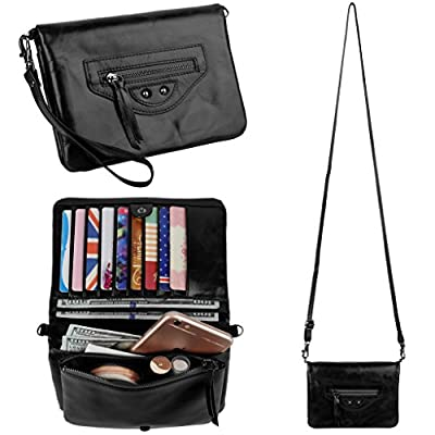 Christmas Big Sale-20% OFF- YALUXE Women's Multiple Pocket Large Capacity Wristlet Wallet with Shoulder Strap