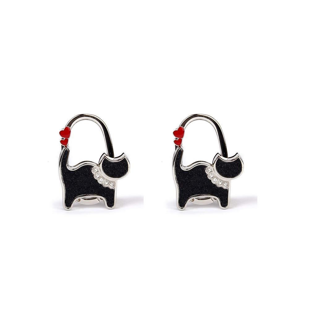 Aofocy Modèle de Chat Porte-Sac Pliable Cintre de Table Strass Accessoires de Sac à Main