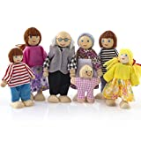 FriendGG Cartoon Wooden Toys, Wooden Furniture Dolls House Happy Family Miniature 7 People Doll Toy For Kid Child Pretend Play Gift Toys Doll for Girls Boys (Wood)