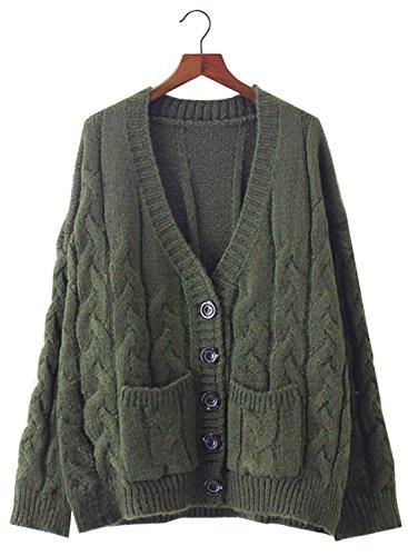 Aran Knit Sweaters - Futurino Women's Long Sleeve Chunky Aran Cable Knitted Grandad Cardigan Sweaters